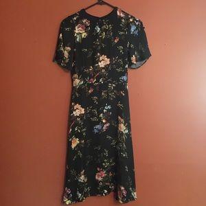 Silk tea length bird floral print midi dress small